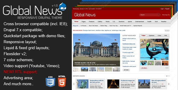 Drupal global news portal theme